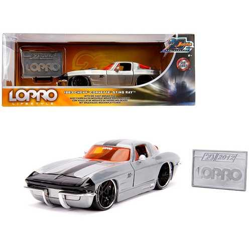 "1963 Chevrolet Corvette Sting Ray Raw Metal with Black Stripe ""LOPRO Lifestyle"" ""Jada 20th Anniversary"" 1/24 Diecast Model Car by Jada"