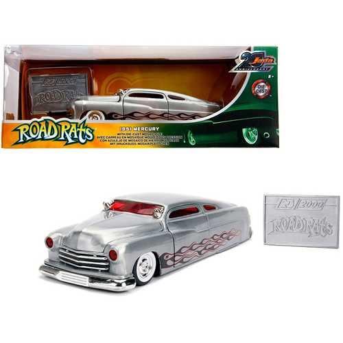 "1951 Mercury Raw Metal with Flames ""Road Rats"" ""Jada 20th Anniversary"" 1/24 Diecast Model Car by Jada"