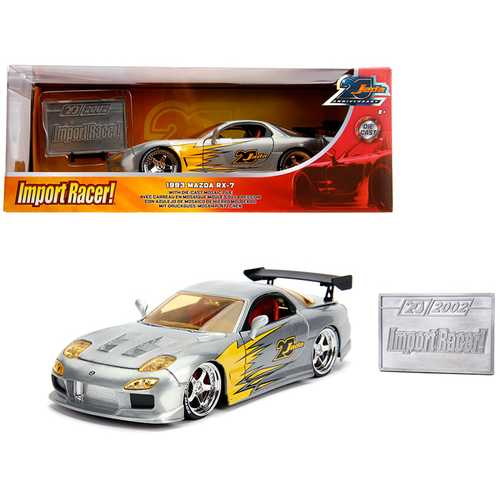 "1993 Mazda RX-7 Raw Metal ""Import Racer!"" ""Jada 20th Anniversary"" 1/24 Diecast Model Car by Jada"
