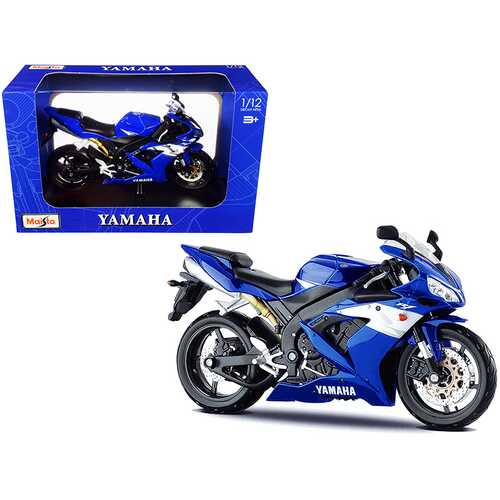 2004 Yamaha YZF-R1 Blue Bike with Plastic Display Stand 1/12 Diecast Motorcycle Model by Maisto