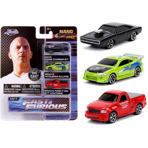 """Fast & Furious"" 3 piece Set ""Nano Hollywood Rides"" Diecast Model Cars by Jada"