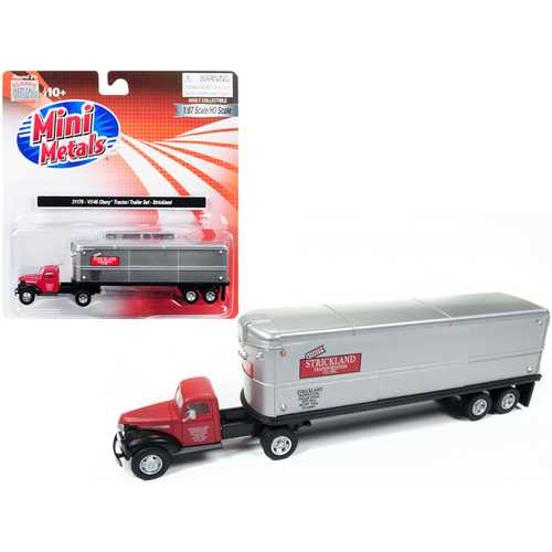 """1941-1946 Chevrolet Tractor Trailer Truck """"Strickland"""" Red and Silver 1/87 (HO) Scale Model by Classic Metal Works"""