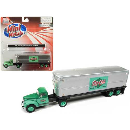 "1941-1946 Chevrolet Tractor Trailer Truck ""So-Cal Freight"" 1/87 (HO) Scale Model by Classic Metal Works"