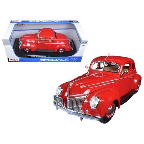 1939 Ford Deluxe Tudor Red 1/18 Diecast Model Car by Maisto