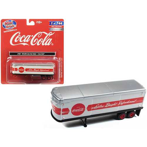 "1940's-1950's Aerovan Trailer ""Coca Cola"" White with Red Stripe 1/87 (HO) Scale Model by Classic Metal Works"