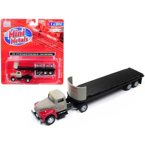 """IH R-190 Tractor Truck with 32' Flatbed Trailer """"Breir & Smith Building"""" 1/87 (HO) Scale Model by Classic Metal Works"""