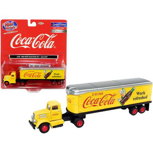 """White WC22 Tractor Trailer """"Coca-Cola"""" Yellow 1/87 (HO) Scale Model by Classic Metal Works"""