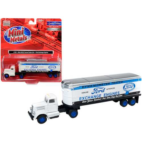 "White WC22 Tractor Trailer ""Ford Exchange Engines"" White 1/87 (HO) Scale Model by Classic Metal Works"