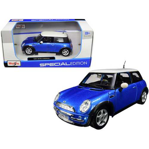 Mini Cooper Metallic Blue with White Top 1/24 Diecast Model Car by Maisto