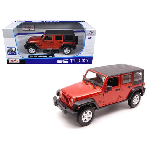 2015 Jeep Wrangler Unlimited Orange with Black Top 1/24 Diecast Model Car by Maisto