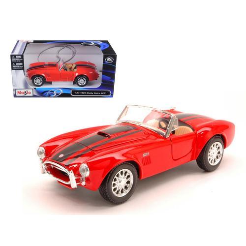 1965 Shelby Cobra 427 Red with Black Stripes 1/24 Diecast Model Car by Maisto