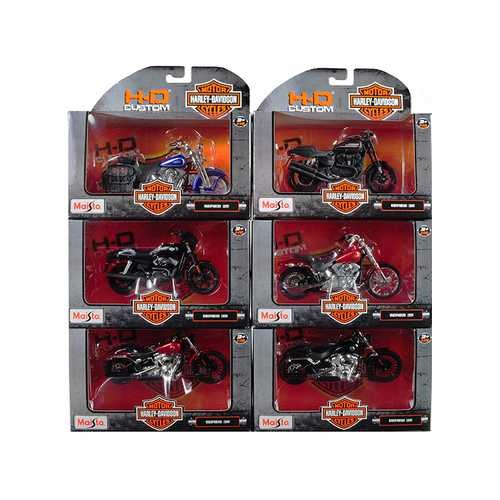 Harley Davidson Motorcycle 6 piece Set Series 35 1/18 Diecast Motorcycle Models by Maisto
