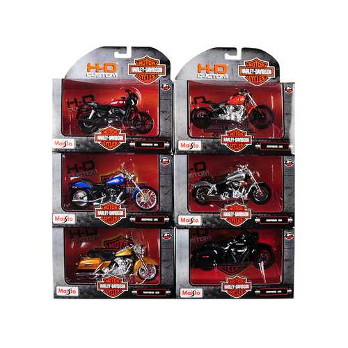 Harley Davidson Motorcycle 6 piece Set Series 36 1/18 Diecast Models by Maisto