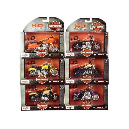 Harley-Davidson Motorcycles 6 piece Set Series 38 1/18 Diecast Models by Maisto