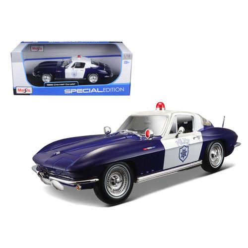 1965 Chevrolet Corvette Blue and White Police 1/18 Diecast Model Car by Maisto