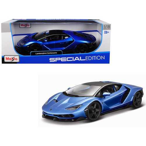 Lamborghini Centenario Metallic Blue with Black Top 1/18 Diecast Model Car by Maisto