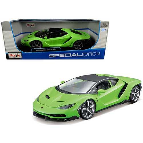 Lamborghini Centenario Lime Green with Matt Black Top 1/18 Diecast Model Car by Maisto