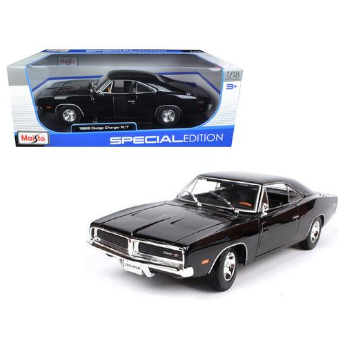 1969 Dodge Charger R/T Black 1/18 Diecast Model Car by Maisto