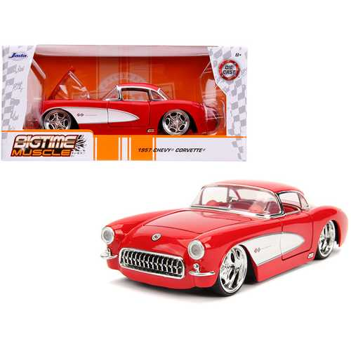 """1957 Chevrolet Corvette Red with Red Interior """"Bigtime Muscle"""" 1/24 Diecast Model Car by Jada"""