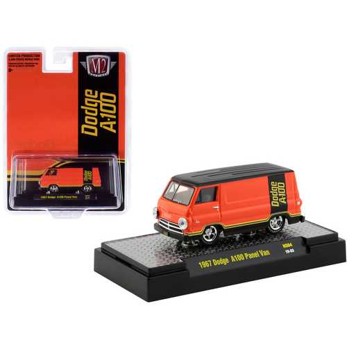 """1967 Dodge A100 Panel Van Orange and Black """"Hobby Exclusive"""" Limited Edition to 3,600 pieces Worldwide 1/64 Diecast Model Car by M2 Machines"""