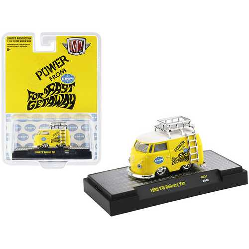 "1960 Volkswagen Delivery Van with Ladder and Roof Rack ""EMPI"" Bright Yellow with White Top Limited Edition to 7150 pieces Worldwide 1/64 Diecast Model Car by M2 Machines"