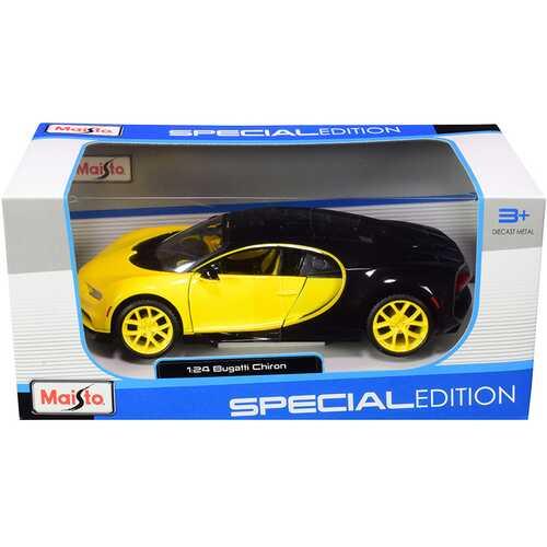 Bugatti Chiron Yellow and Black 1/24 Diecast Model Car by Maisto