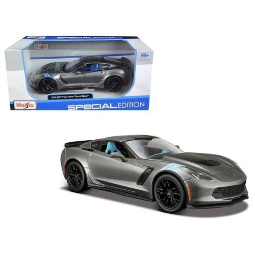 2017 Chevrolet Corvette Grand Sport Metallic Grey 1/24 Diecast Model Car by Maisto