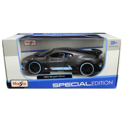 "Bugatti Divo Satin Charcoal Gray with Carbon and Blue Accents ""Special Edition"" 1/24 Diecast Model Car by Maisto"