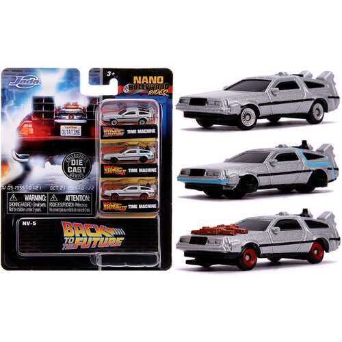 """Back to the Future"" Time Machine 3 piece Set ""Nano Hollywood Rides"" Diecast Model Cars by Jada"