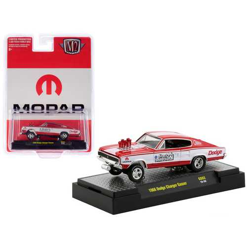 """1966 Dodge Charger Gasser Red and White """"MOPAR"""" """"Direct Connection"""" """"Hobby Exclusive"""" Limited Edition to 3,600 pieces Worldwide 1/64 Diecast Model Car by M2 Machines"""