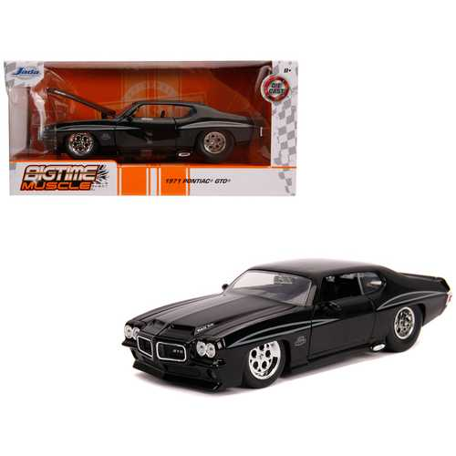 "1971 Pontiac GTO Judge Glossy Black ""Bigtime Muscle"" 1/24 Diecast Model Car by Jada"