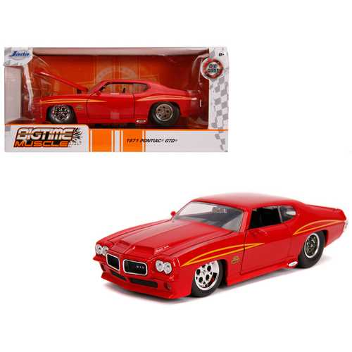 """1971 Pontiac GTO Judge Glossy Red """"Bigtime Muscle"""" 1/24 Diecast Model Car by Jada"""