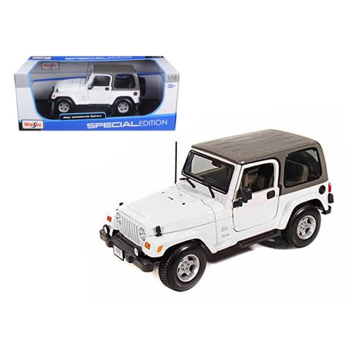 Jeep Wrangler Sahara White 1/18 Diecast Model Car by Maisto