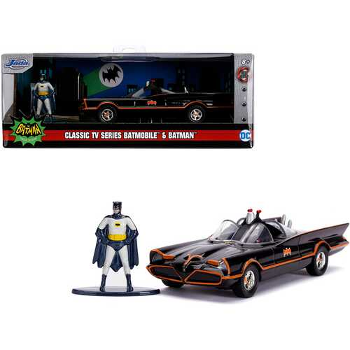 "1966 Batmobile with Diecast Batman Figurine ""Batman"" (1966-1968) Classic TV Series ""DC Comics"" ""Hollywood Rides"" Series 1/32 Diecast Model Car by Jada"