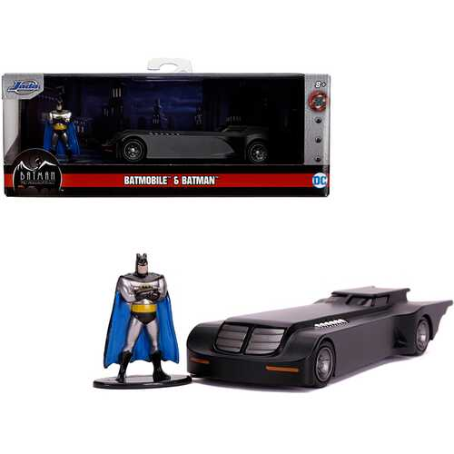 "Batmobile with Diecast Batman Figurine ""Batman: The Animated Series"" (1992-1995) TV Series ""DC Comics"" ""Hollywood Rides"" Series 1/32 Diecast Model Car by Jada"