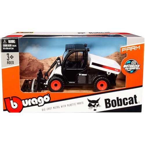 Bobcat Toolcat 5600 Utility Work Machine with Pallet Fork White and Black Diecast Model by Bburago