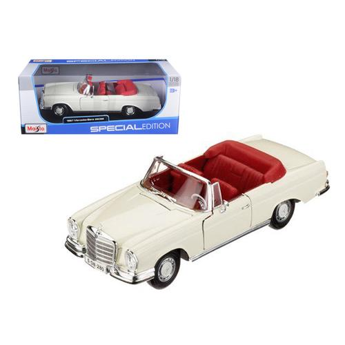 1967 Mercedes Benz 280 SE Convertible Cream 1/18 Diecast Model Car by Maisto