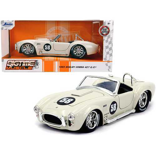 "1965 Shelby Cobra 427 S/C #58 Cream ""Bigtime Muscle"" 1/24 Diecast Model Car by Jada"