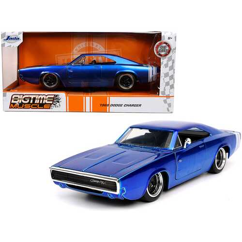 """1968 Dodge Charger R/T Candy Blue with White Stripes """"Bigtime Muscle"""" 1/24 Diecast Model Car by Jada"""