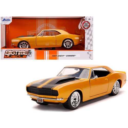 "1967 Chevrolet Camaro Orange Metallic with Black Stripes ""Bigtime Muscle"" 1/24 Diecast Model Car by Jada"