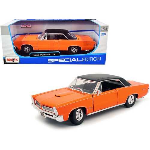 "1965 Pontiac GTO Hurst Orange with Black Top and White Stripes ""Special Edition"" 1/18 Diecast Model Car by Maisto"
