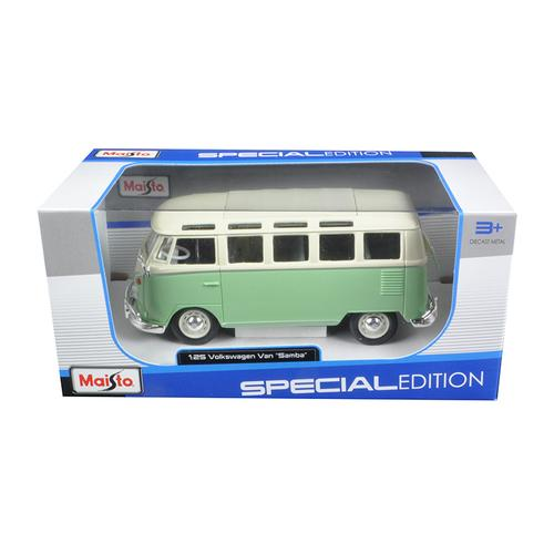Volkswagen Van Samba Bus Green 1/25 Diecast Model Car by Maisto