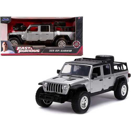 """2020 Jeep Gladiator Pickup Truck Silver with Black Top """"Fast & Furious"""" Series 1/24 Diecast Model Car by Jada"""