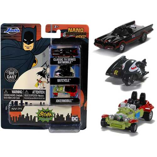 """Batman"" (1966-1968) Classic TV Series 3 piece Set ""Nano Hollywood Rides"" Diecast Models by Jada"