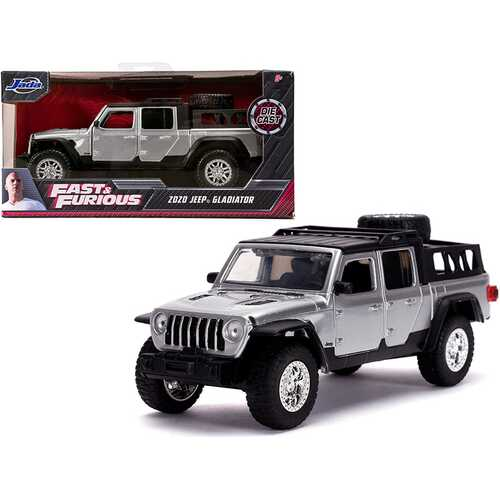 """2020 Jeep Gladiator Pickup Truck Silver with Black Top """"Fast & Furious"""" Movie 1/32 Diecast Model Car by Jada"""