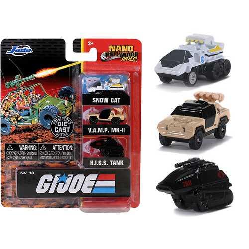 """G.I. Joe"" 3 piece Set ""Nano Hollywood Rides"" Diecast Models by Jada"
