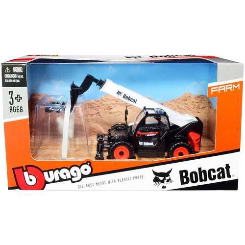Bobcat T40.180SLP Telescopic Handler with Pallet Fork Black and White Diecast Model by Bburago