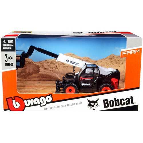 Bobcat T40.180SLP Telescopic Handler with Man Platform Black and White Diecast Model by Bburago