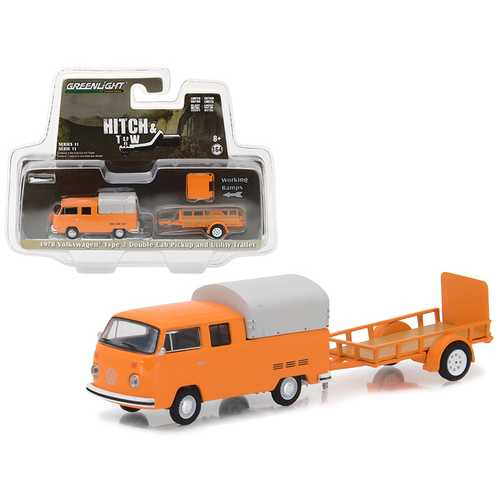 "1978 Volkswagen Type 2 Double Cab Pickup Truck Orange with Utility Trailer ""Hitch & Tow"" Series 11 1/64 Diecast Model Car by Greenlight"