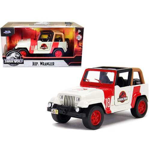 "Jeep Wrangler #18 ""Jurassic Park"" Red and Beige ""Jurassic World"" 1/32 Diecast Model Car by Jada"